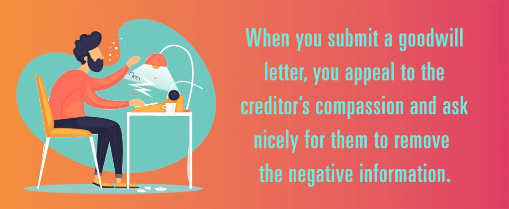 Will credit bureaus remove negatives? When you submit a goodwill letter, you appeal to the creditor's compassion and ask nicely for them to remove  the negative information.