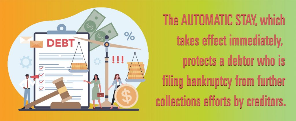 The automatic stay takes effect immediately. It protects a debtor who is filing for bankruptcy from further collections efforts by creditors.